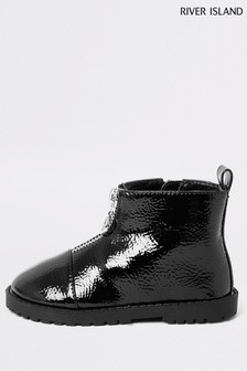 River Island Black Zip Front Cleated Boots