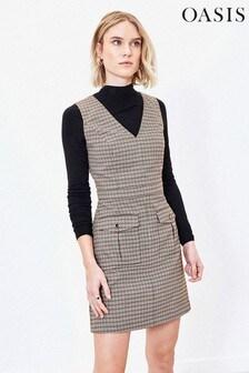 Oasis Brown Micro Check Shift Dress