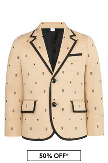 Boys Beige Cotton Blazer
