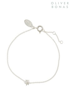 Oliver Bonas Sterling Silver Tiny Turtle Chain Bracelet