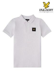 Lyle & Scott Boys White Zip Detail Polo Shirt