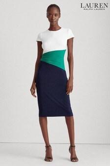 Lauren Ralph Lauren® Navy Green Fenton Dress