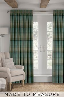 Marlow Check Teal Green Made To Measure Curtains