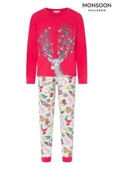 Monsoon Children Pink Raven Christmas Jersey Pyjamas