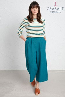 Seasalt Blue Breaking Waves Culottes Petite