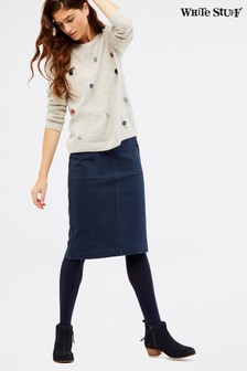 White Stuff Blue Backwater Jersey Skirt
