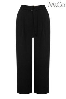 M&Co Black Crop Buckle Belt Trousers