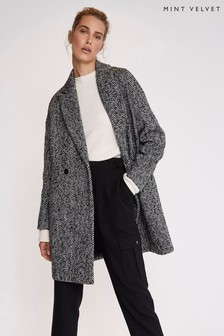 Mint Velvet Black Herringbone Cocoon Coat
