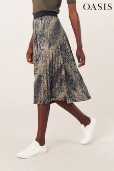 Oasis Natural Faux Leather Snake Skirt