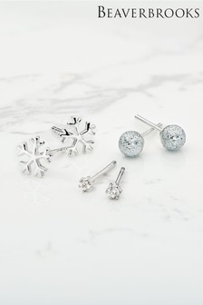 Beaverbrooks Sterling Silver Cubic Zirconia Snow Earring Set
