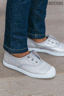Trotters London Silver Plum Canvas Shoes