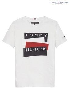 Tommy Hilfiger White Flag Sticker T-Shirt