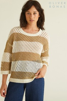 Oliver Bonas Gold Striped Crochet Jumper