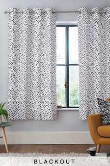 Monochrome Spot Eyelet Curtains