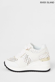 River Island White Wedge Lace-Ups