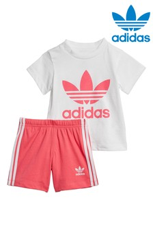 adidas Originals Infant White/Pink Shorts And T-Shirt Set