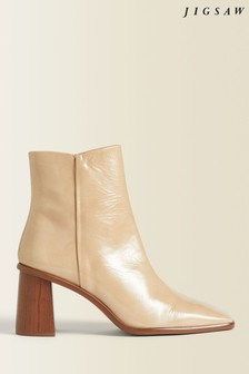 Jigsaw Cream Conduit Leather Ankle Boots