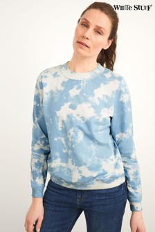 White Stuff Blue Denim Tie Dye Sweat Top
