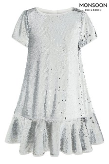 Monsoon Children Silver Callie Sequin Ruffle Dress