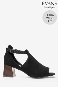 Evans Black Extra Wide Fit High Front Point Sandals
