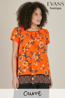 Evans Curve Orange Floral Print Shell Top
