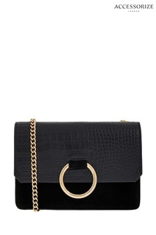 Accessorize Black Francesca Leather Cross Body Bag