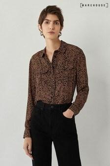 Warehouse Brown Ink Spot Long Sleeve Shirt