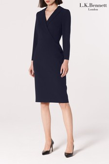 L.K. Bennett Blue Effie Collar Dress