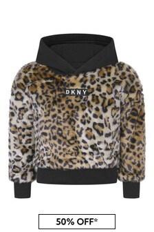 Girls Leopard Faux Fur Sweater