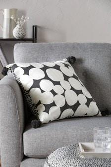 Monochrome Dotty Tassel Cushion