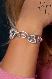Kate Thornton Double Row Pavé Heart Bracelet