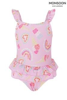 Monsoon Pink Baby Rainbow Frill Swimsuit