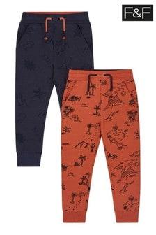Dwie pary spodni dresowych z dinozaurem F&F