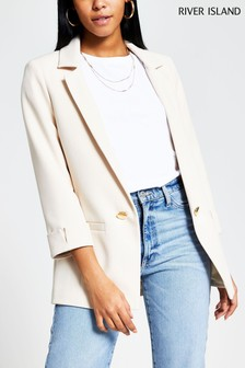 River Island Cream Button Detail Blazer