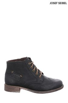 Josef Seibel Black Sienna Brogue Ankle Boots