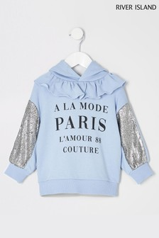 River Island Blue Sequin Sleeve Sweater