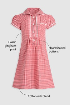 Button Front Lace Gingham Dress (3-14yrs)