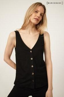 Warehouse Black Pique V-Neck Button Vest