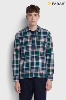 Farah Green Bewlay Long Sleeve Check Shirt
