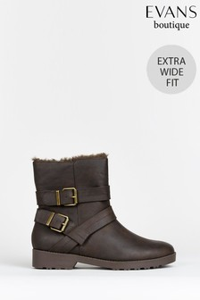 Evans Curve Extra Wide Fit Brown Faux Fur Lined Biker Boots