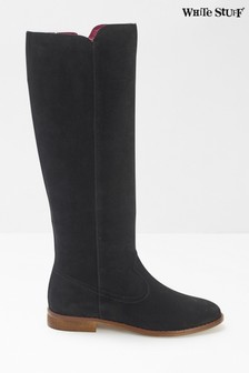 White Stuff Black Hailey Long Suede Flat Boots
