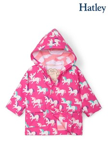 Hatley Pink Mystical Unicorns Colour Changing Baby Raincoat
