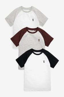 3 Pack Stag Embroidary Raglan T-Shirts (3-16yrs)