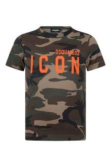 Kids Green Camouflage Cotton T-Shirt