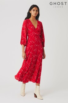Ghost London Red Aueline Moon Print Crepe Dress