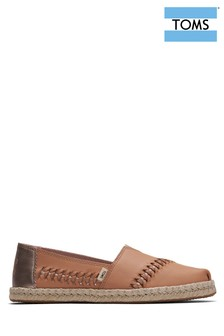 TOMS Tan Leather Espadrilles