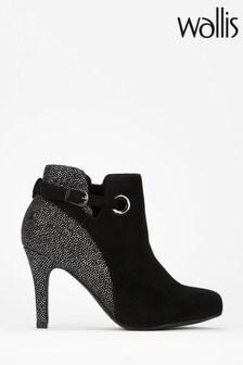 Wallis Black Azaria Glitter Eyelet Round Boots