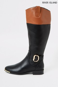 River Island Black Tan Mix Travis Riding Boots