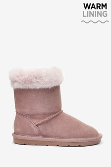 Water Repellent Warm Lined Suede Pull-On Boots