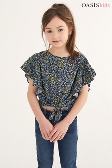 Oasis Navy Ditsy Tie Front Frill Blouse